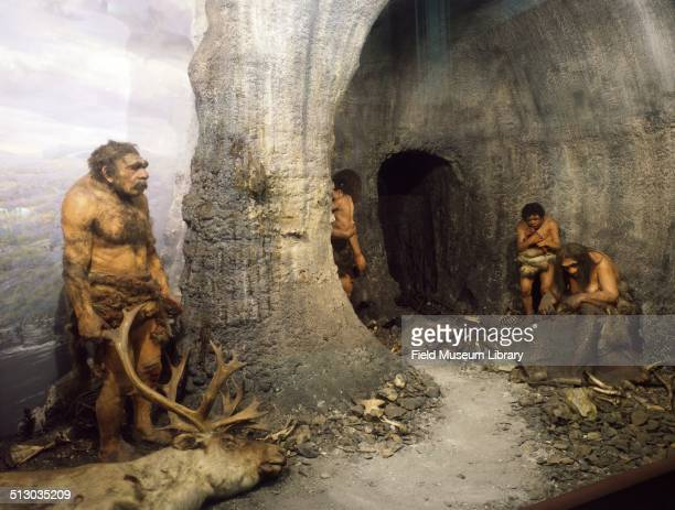 View of the Neanderthal Family diorama figures in a cave shelter April 9 2003 Figures shown are a man about fiftyfive years of age a young woman...