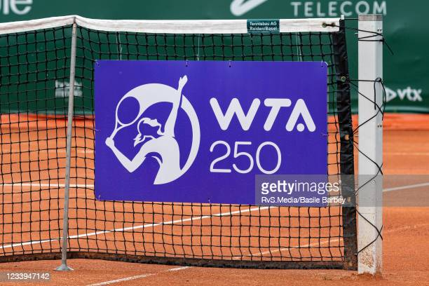 View of the net with the WTA 250 logo during WTA Ladies Open Lausanne at Tennis Club Stade-Lausanne on July 12, 2021 in Lausanne, Switzerland.