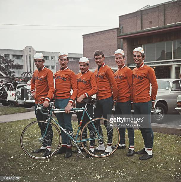 View of the Netherlands cycling team lined up together for the start of the first stage of the 1969 Milk Race Tour of Britain in Worthing England on...