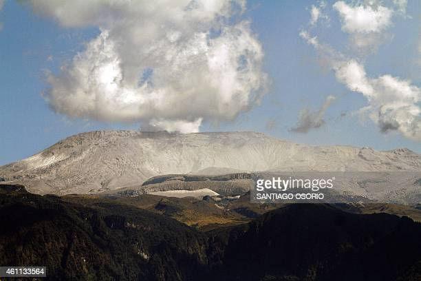 View of the Nevado del Ruiz volcano taken on January 3 from Manizales city department of Caldas Colombia The aeronautical authorities of Colombia...