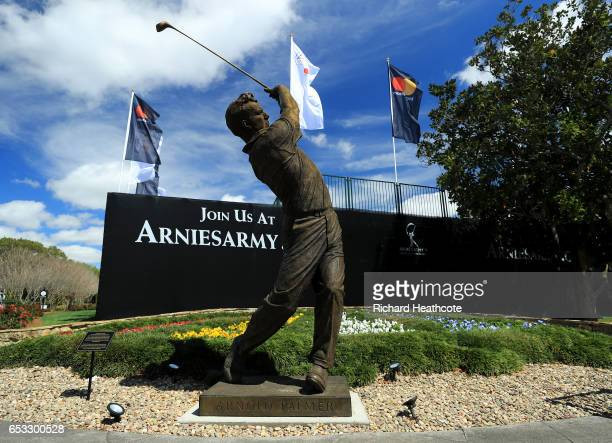 View of the new Arnold Palmer statue by the first tee during a practise round for the Arnold Palmer Invitational Presented By MasterCard at Bay Hill...