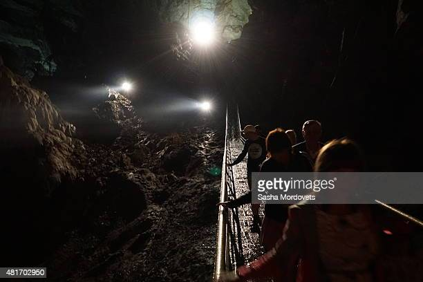 A view of the New Athos Cave on July 22 2015 in New Athos Abkhazia Football teams from rebel republics and separatist regions will gather in Abkhazia...
