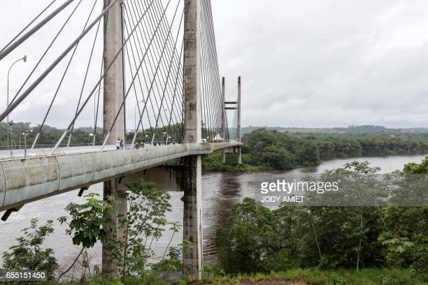 A view of the new bridge across the Oyapock River linking French Guiana an outpost of France in South America with neighboring Brazil pictured on...