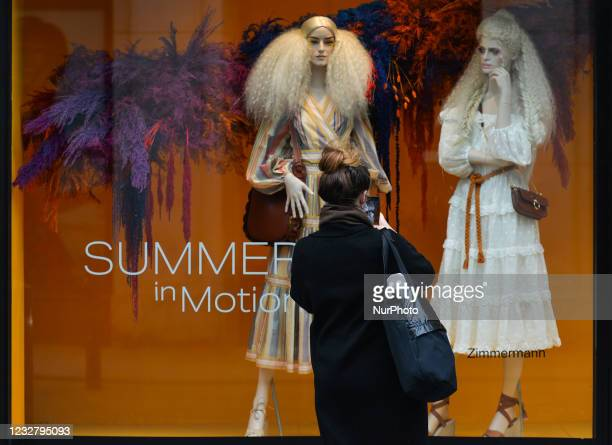 View of the new Brown Thomas Summer Season window display with the new Zimmermann summer collection. On Sunday, 9 May 2021, in Dublin, Ireland.