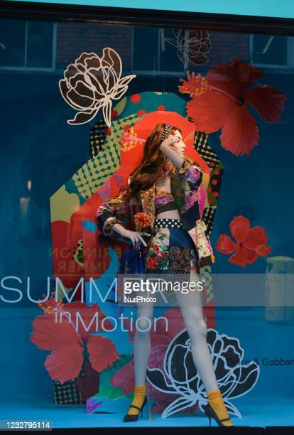View of the new Brown Thomas Summer Season window display with the new Dolce and Gabbana summer collection. On Sunday, 9 May 2021, in Dublin, Ireland.