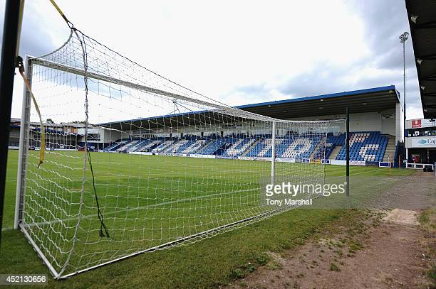 A view of The New Bucks Head Stadium home of AFC Telford United during the Pre Season Friendly match between AFC Telford United v Blackburn Rovers at...