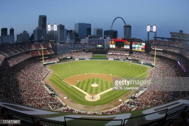 View of the new Busch Stadium during action between the Cincinnati Reds and the St Louis Cardinals in St Louis Missouri on April 14 2006 Cincinnati...