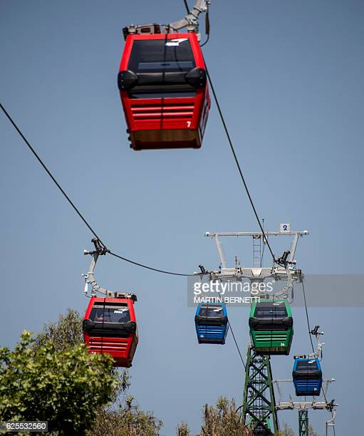 View of the new cable car at Metropolitan Park in San Cristobal Hill Santiago on November 24 2016 Chilean President Michelle Bachelet reopens...