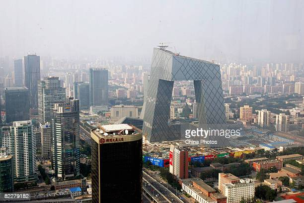 A view of the new CCTV headquarters is seen at the Central Business District on August 12 2008 in Beijing China CBD is under fast development