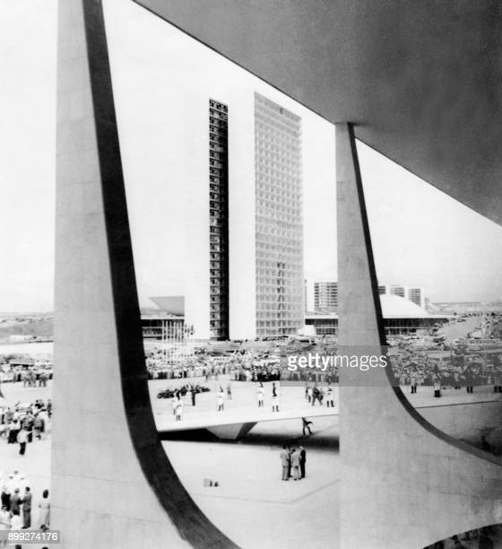 View of the new city of Brasilia capital of Brazil on April 21 designed by Brazilian architect Oscar Niemeyer Brasilia was officially inaugurated on...