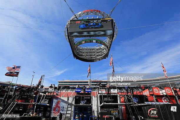 A view of the new Colossus scoreboard from the garage area during practice for the NASCAR Sprint Cup Series Food City 500 at Bristol Motor Speedway...