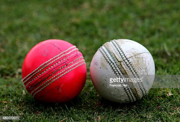A view of the new day/night pink ball and the traditional white ball during day three of the Champion County match between Marylebone Cricket Club...