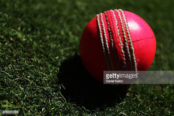A view of the new day/night pink balls used during day one of the Sheffield Shield match between South Australia and New South Wales at Adelaide Oval...