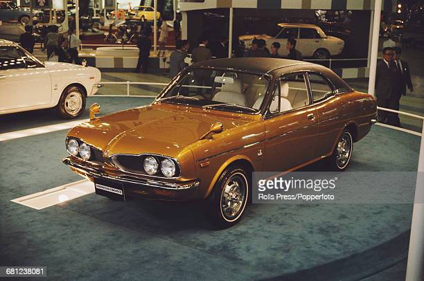 View of the new Honda 1300X two door coupe car on display at the Tokyo Motor Show in Tokyo Japan in 1970