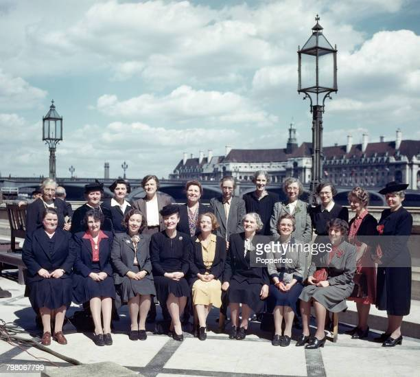 View of the new intake of female Labour Party Members of Parliament posed together on the riverside terrace at the Palace of Westminster following...