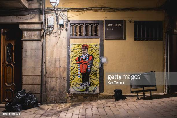 View of the new italian artist TVboy work 'Despicable Me 4' featuring Vladimir Putin on February 07, 2021 in Barcelona, Spain. The Russian people...