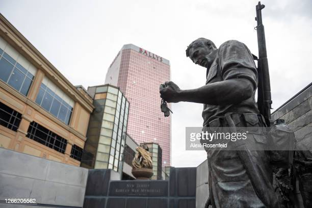 View of the New Jersey Korean War Memoiral is seen in front of Bally's Atlantic City Hotel & Casino as the state of New Jersey continues Stage 2 of...