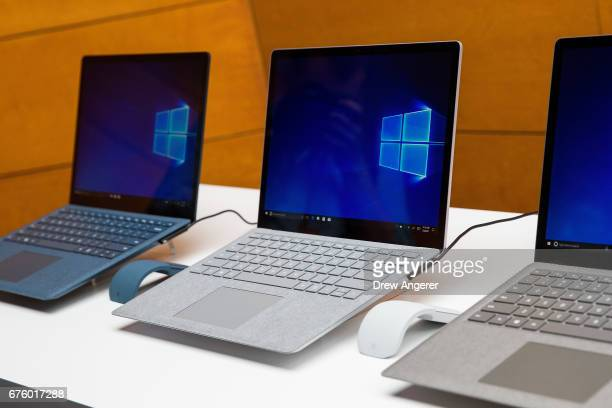 A view of the new Microsoft Surface Laptop following a Microsoft launch event May 2 2017 in New York City The Windows 10 S operating system is geared...
