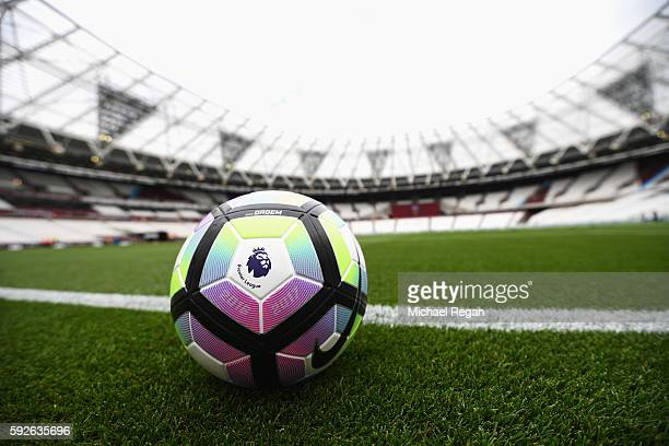A view of the new Nike Ordem match ball prior to the Premier League match between West Ham United and AFC Bournemouth at London Stadium on August 21...
