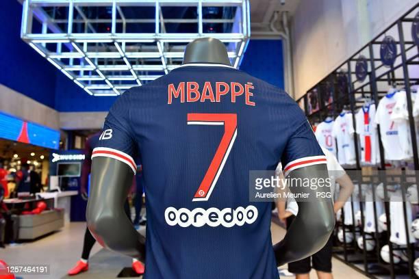 View of the new Paris Saint-Germain jersey at the PSG megastore before the Friendly match Paris Saint-Germain and Celtic at Parc des Princes on July...