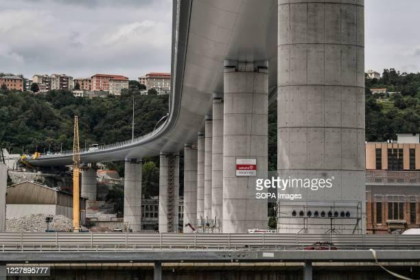 View of the new San Giorgio bridge designed by architect Renzo Piano replacing Morandi bridge before the inauguration ceremony with the Italian head...