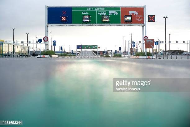 View of the new signs which will tell the drivers where they need to go whether they are cleared by French customs or not as trucks arrive from the...