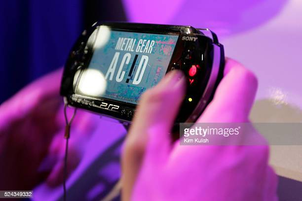 View of the new Sony Playstation Portable portable gaming device introduced at The Electronic Entertainment Expo or E3 a trade show for the video...