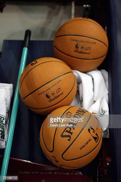 View of the new Spalding microfiber composite 200607 Official NBA game ball during the Cleveland Cavaliers training camp at Quicken Loans Arena on...