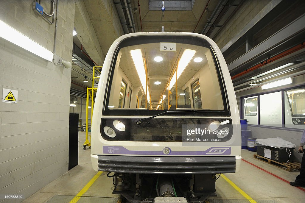 A view of the new train of underground line (linea M5) at the press preview on February 5, 2013 in Milan, Italy. The new metropolitan line M5 is the first line to Milan without train operator and every train it is able to transport up to 536 people.