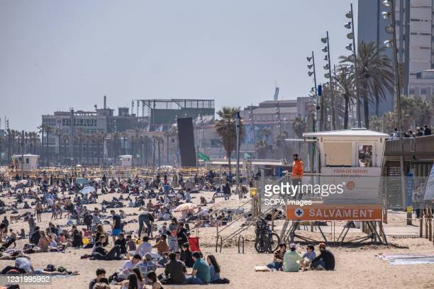 View of the new watchtower for beach lifeguards on the Barcelona coastline. Barcelona kicks off the new 2021 beach season with new security devices...