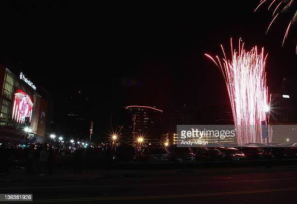 View of the New Years Eve fireworks display following the game between the New Jersey Devils and the Pittsburgh Penguins at the Prudential Center on...
