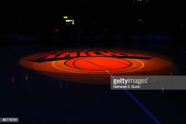 View of the New York Knicks logo illuminated at halfcourt prior to the game against the Atlanta Hawks on March 4 2009 at Madison Square Garden in New...