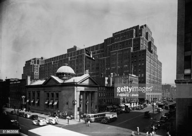 View of the New York Savings Bank and the Port Authority Building from the corner of 8th Avenue and West 14th Street in Chelsea New York New York...
