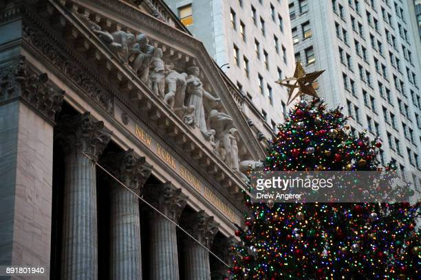 A view of the New York Stock Exchange after the closing bell December 13 2017 in New York City The Dow Jones industrial average closed at another...