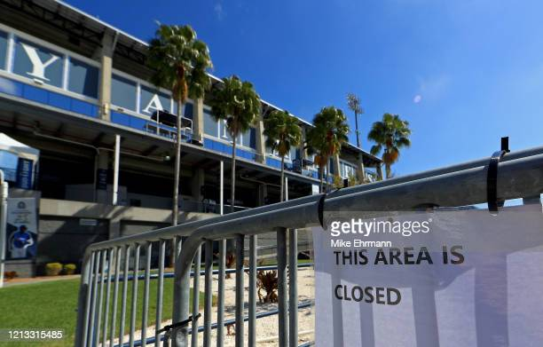 View of the New York Yankees Spring Training facility at George M. Steinbrenner Field which has been closed due to the coronavirus outbreak on March...