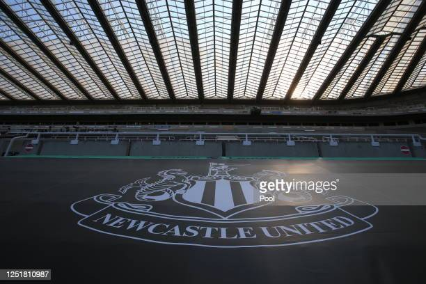 View of the Newcastle United logo is seen in the stands prior to the Premier League match between Newcastle United and Aston Villa at St. James Park...