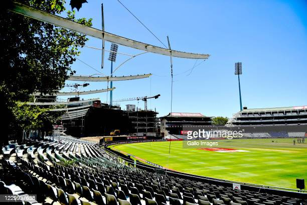 View of the Newlands stadium after the first ODI between South Africa and England was postponed due to a positive coronavirus test in the South...