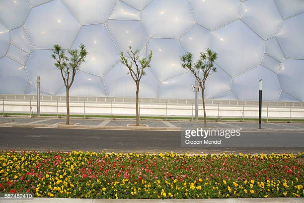 A view of the newly constructed National Aquatics Center known as the Water Cube in the new Olympic Green in Beijing The boxlike venue with three...