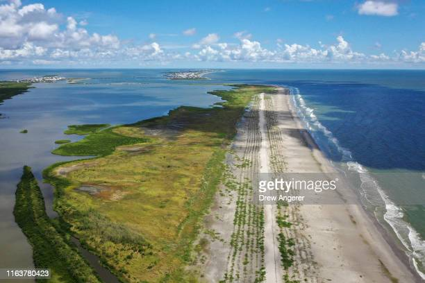 View of the newly restored Caminada Headland, a 13-mile-long barrier island system that buffers the Louisiana coast from tropical storms and surge,...