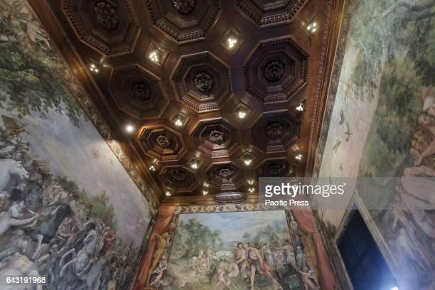 """View of the newly restored Sala degli Orazi e Curiazi. Virginia Raggi, Mayor of Rome, attends the inauguration of the """"Sala degli Orazi e Curiazi"""" at..."""