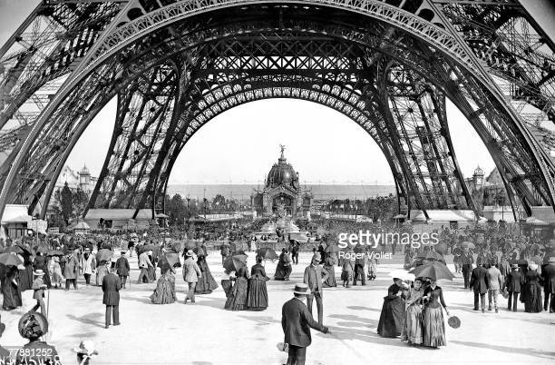 A view of the newlybuilt Eiffel Tower towards the Dome Central during the Paris Exposition Universelle or World Fair of 1889