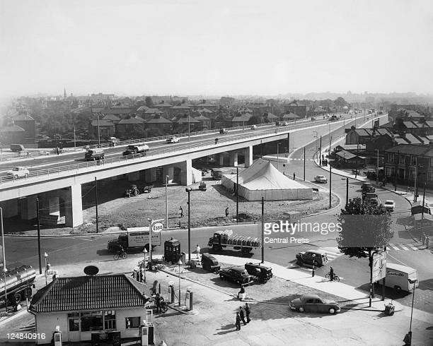 A view of the newlyopened Chiswick Flyover on the A4 road at Brentford west London 1959
