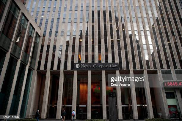 A view of the News Corp and Fox News headquarters in Midtown Manhattan April 19 2017 in New York City Fox News television personality Bill O'Reilly's...