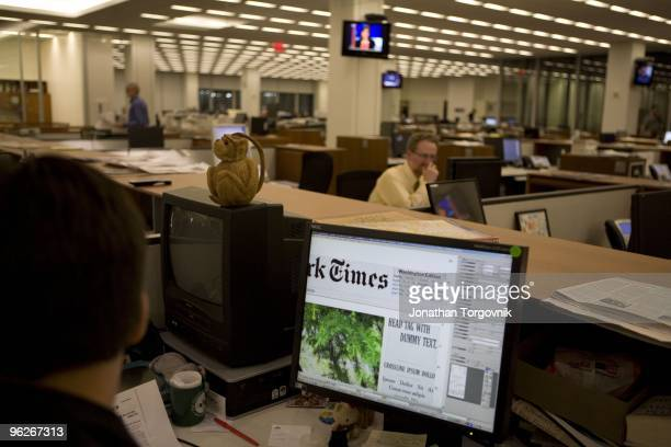 View of the newsroom after the 4pm page one meeting Tom Bodkin's sketch of the page one content is used as reference for the design and pagination of...