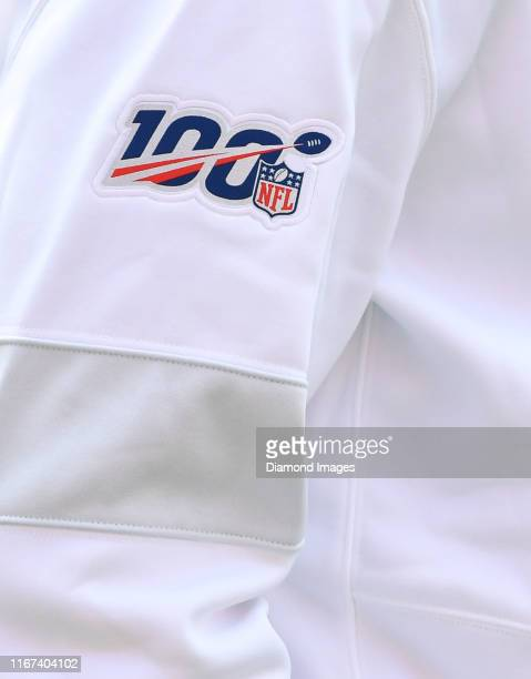 A view of the NFL 100 logo on the sleeve of quarterback Ryan Tannehill of the Tennessee Titans prior to a game against the Cleveland Browns on...