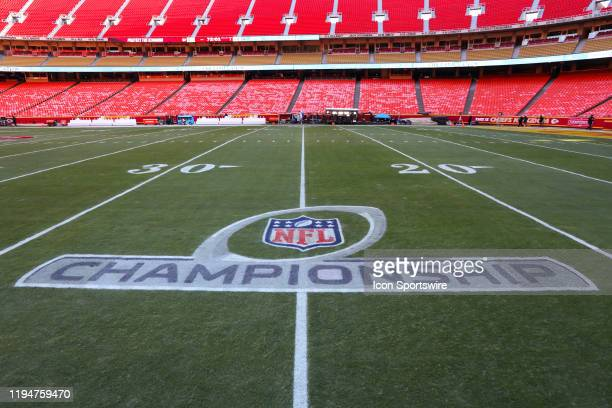A view of the NFL Championship logo on the field before the AFC Championship game between the Tennessee Titans and Kansas City Chiefs on January 19...