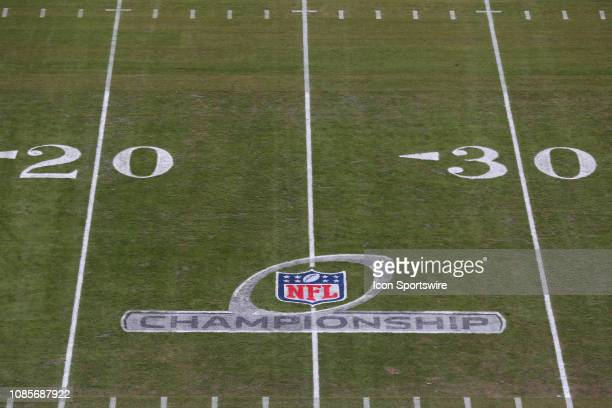 A view of the NFL Championships logo before the AFC Championship Game game between the New England Patriots and Kansas City Chiefs on January 20 2019...