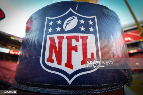 A view of the NFL logo before the AFC Championship game between the Tennessee Titans and Kansas City Chiefs on January 19 2020 at Arrowhead Stadium...