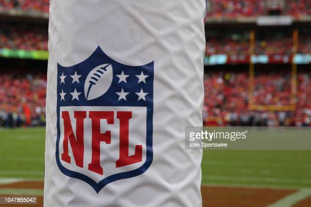 A view of the NFL logo during an NFL game between the Jacksonville Jaguars and Kansas City Chiefs on October 7 2018 at Arrowhead Stadium in Kansas...