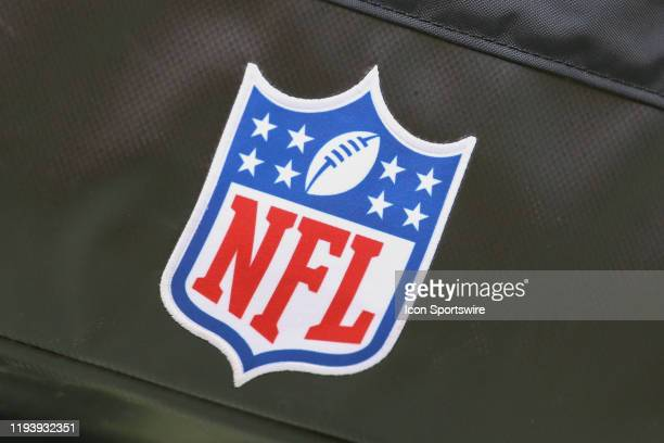 A view of the NFL logo in the first quarter of an NFL Divisional round playoff game between the Houston Texans and Kansas City Chiefs on January 12...